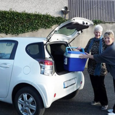 The Volunteers from Shankill Daycare Centre getting ready to Deliver Meals on Wheels